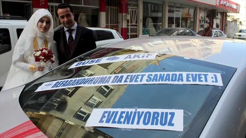 'Evet' kampanyası gelin arabasına da yansıdı